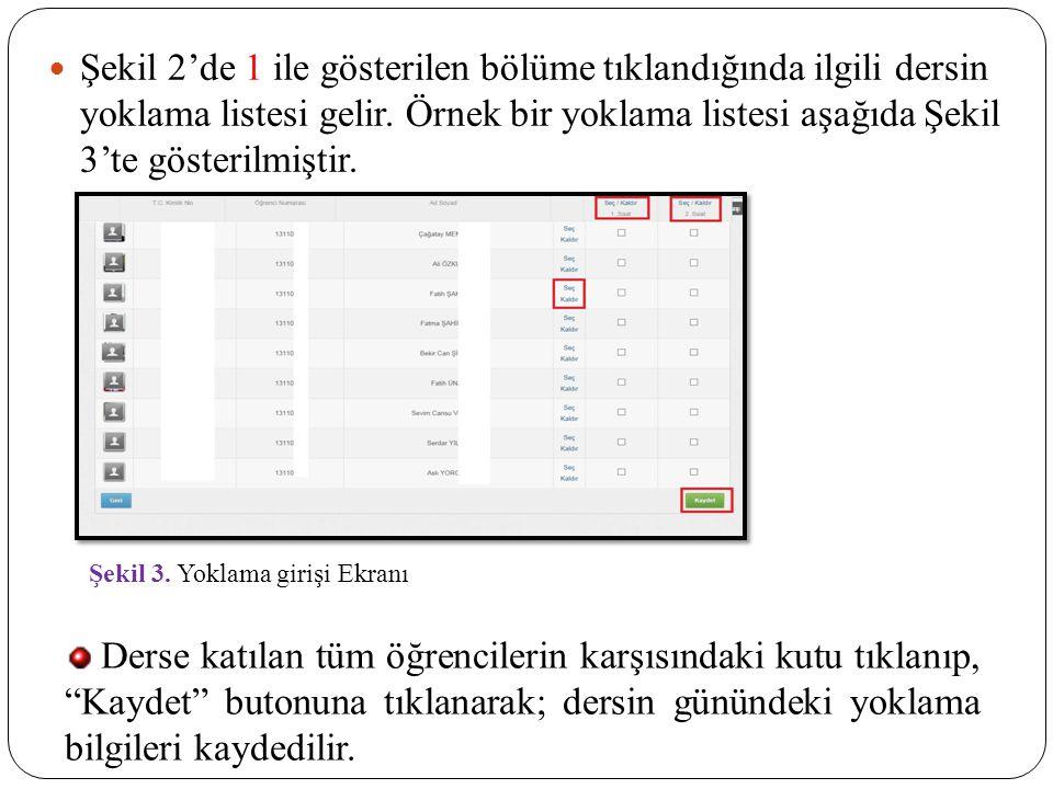 Şekil 2'de 1 ile gösterilen bölüme tıklandığında ilgili dersin yoklama listesi gelir. Örnek bir yoklama listesi aşağıda Şekil 3'te gösterilmiştir. Şek