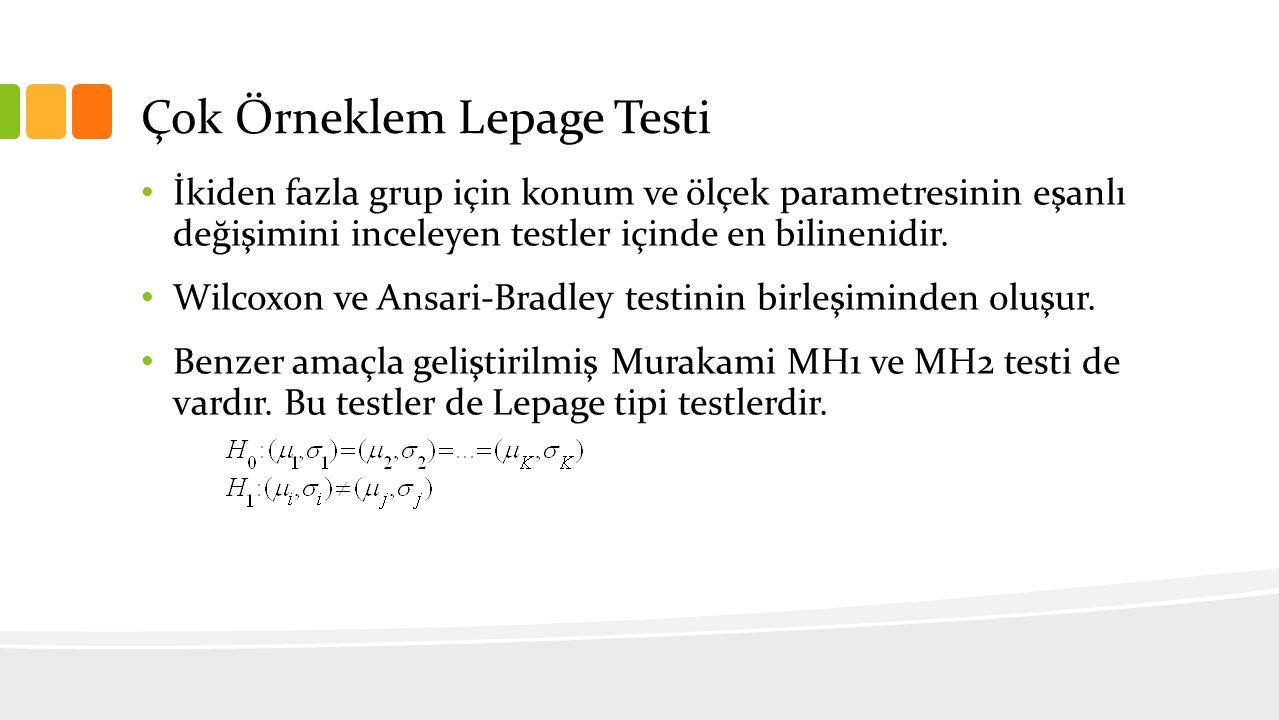 Çok Örneklem Lepage Testi İkiden fazla grup için konum ve ölçek parametresinin eşanlı değişimini inceleyen testler içinde en bilinenidir. Wilcoxon ve