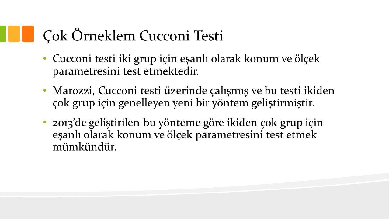 Çok Örneklem Cucconi Testi Cucconi testi iki grup için eşanlı olarak konum ve ölçek parametresini test etmektedir. Marozzi, Cucconi testi üzerinde çal