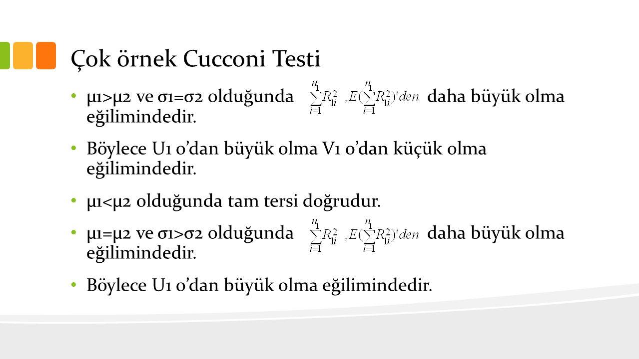 Çok örnek Cucconi Testi µ1>µ2 ve σ1=σ2 olduğunda daha büyük olma eğilimindedir. Böylece U1 0'dan büyük olma V1 0'dan küçük olma eğilimindedir. µ1<µ2 o