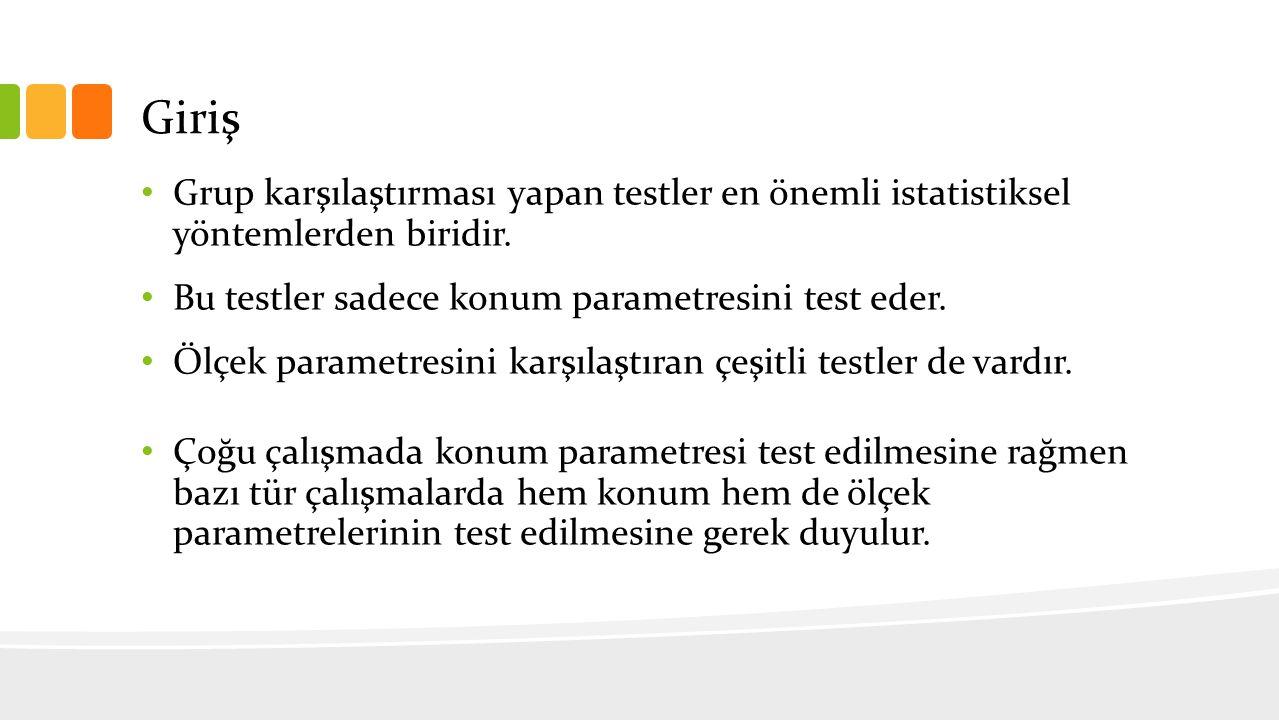Giriş Grup karşılaştırması yapan testler en önemli istatistiksel yöntemlerden biridir. Bu testler sadece konum parametresini test eder. Ölçek parametr