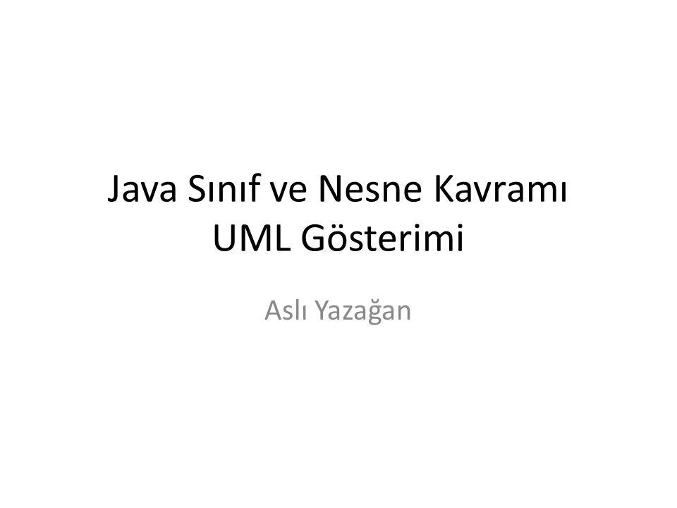 Java Sınıf ve Nesne Kavramı UML Gösterimi Aslı Yazağan