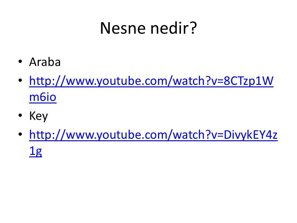 Nesne nedir? Araba http://www.youtube.com/watch?v=8CTzp1W m6io http://www.youtube.com/watch?v=8CTzp1W m6io Key http://www.youtube.com/watch?v=DivykEY4