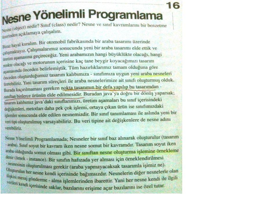 public class Yordamlar { int uzunlukDondur(String kelime){ return kelime.length(); } String elmaHesapla(int elma){ return new String( elma sayısı : + elma*18); } class YordamTest{ public static void main(String[] args) { Yordamlar y=new Yordamlar(); System.out.println(y.uzunlukDondur(''Emre Deniz )); System.out.println(y.elmaHesapla(8)); } YORDAMLAR ÖRNEK