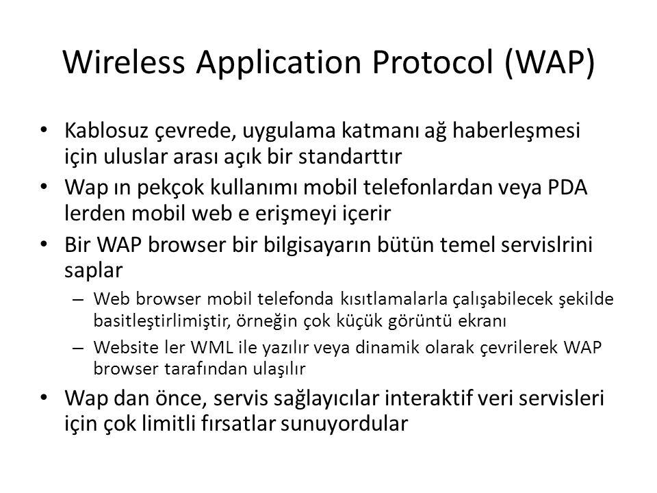 Wireless Application Protocol (WAP) Kablosuz çevrede, uygulama katmanı ağ haberleşmesi için uluslar arası açık bir standarttır Wap ın pekçok kullanımı