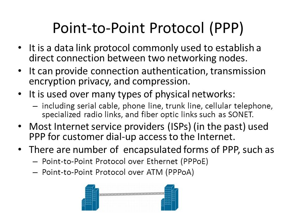 Point-to-Point Protocol (PPP) It is a data link protocol commonly used to establish a direct connection between two networking nodes. It can provide c