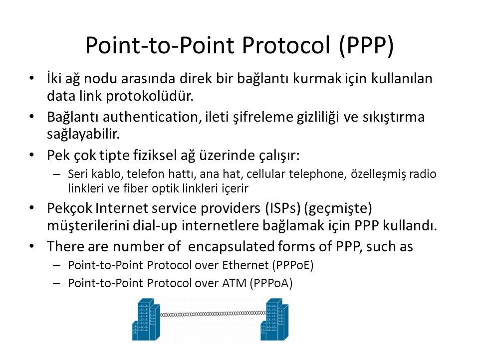Point-to-Point Protocol (PPP) İki ağ nodu arasında direk bir bağlantı kurmak için kullanılan data link protokolüdür. Bağlantı authentication, ileti şi