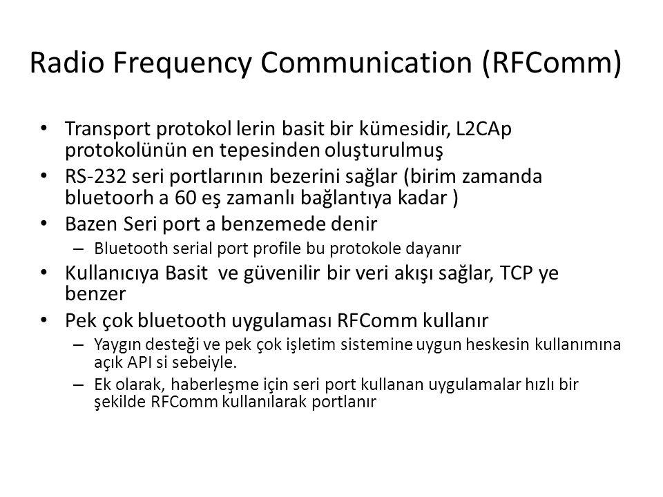 Radio Frequency Communication (RFComm) Transport protokol lerin basit bir kümesidir, L2CAp protokolünün en tepesinden oluşturulmuş RS-232 seri portlar
