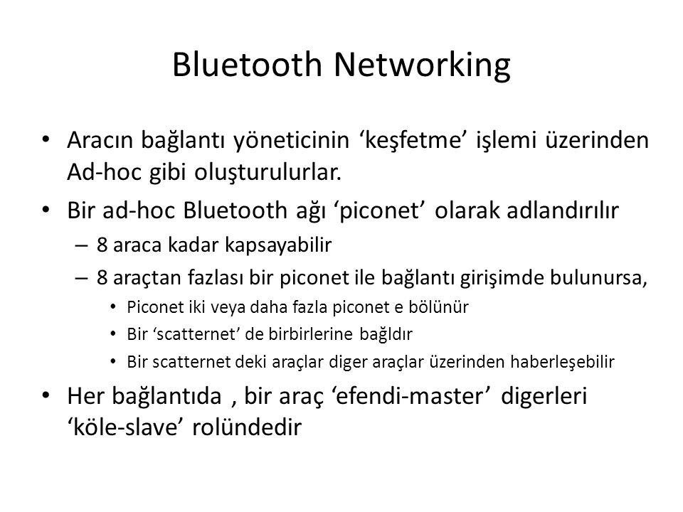 Bluetooth Networking Aracın bağlantı yöneticinin 'keşfetme' işlemi üzerinden Ad-hoc gibi oluşturulurlar. Bir ad-hoc Bluetooth ağı 'piconet' olarak adl
