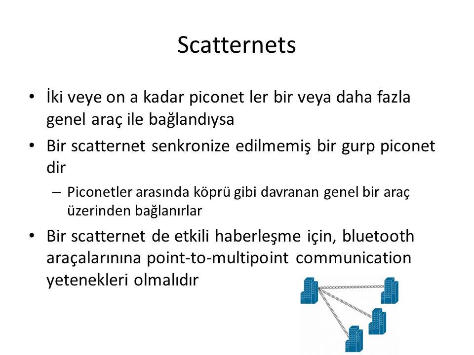 Scatternets İki veye on a kadar piconet ler bir veya daha fazla genel araç ile bağlandıysa Bir scatternet senkronize edilmemiş bir gurp piconet dir –