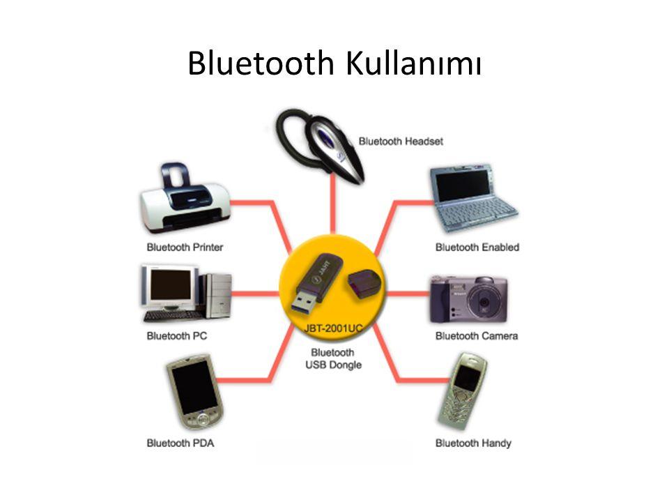 Piconets Aynı master aracı paylaşan slave lerin hepsi aynı piconet dedir Her slave, master ile slave arasında belirlenen belirli bir zaman diliminde bir master ile iletişim kurmak zorundadır Bir bluetooth aracı iki piconet de master gibi davranamaz – Eğer piconet aracı bir scatternet deki başka bir piconet aracı ile bağlandıysa, slave bir piconete master olarak diğerine slave olarak katılır