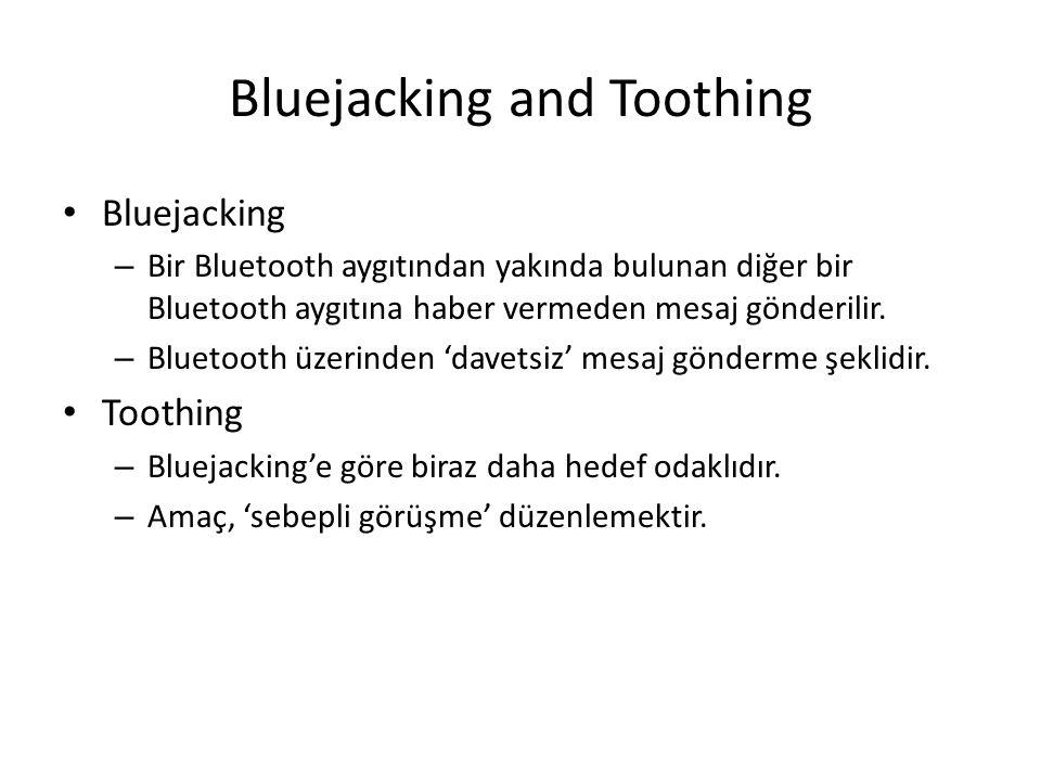 Bluejacking and Toothing Bluejacking – Bir Bluetooth aygıtından yakında bulunan diğer bir Bluetooth aygıtına haber vermeden mesaj gönderilir. – Blueto