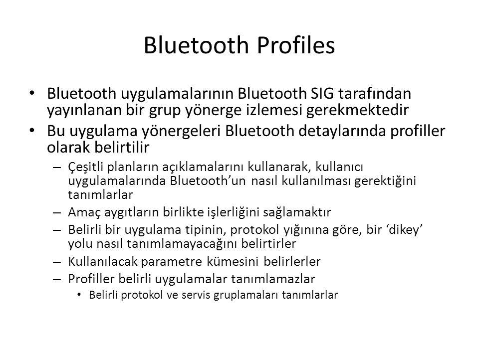 Bluetooth Profiles Bluetooth uygulamalarının Bluetooth SIG tarafından yayınlanan bir grup yönerge izlemesi gerekmektedir Bu uygulama yönergeleri Bluet