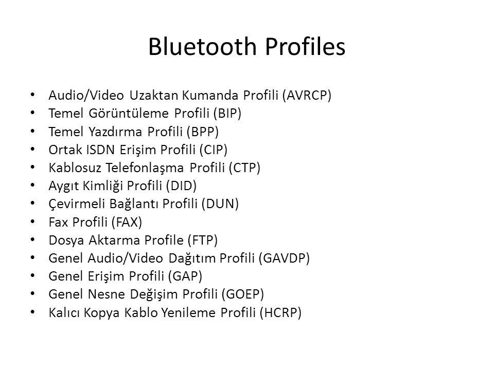 Bluetooth Profiles Audio/Video Uzaktan Kumanda Profili (AVRCP) Temel Görüntüleme Profili (BIP) Temel Yazdırma Profili (BPP) Ortak ISDN Erişim Profili