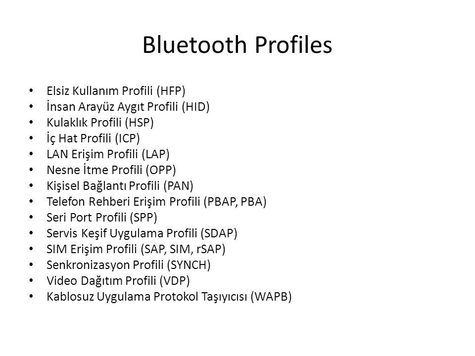 Bluetooth Profiles Elsiz Kullanım Profili (HFP) İnsan Arayüz Aygıt Profili (HID) Kulaklık Profili (HSP) İç Hat Profili (ICP) LAN Erişim Profili (LAP)