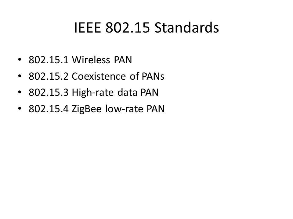 IEEE 802.15 Standards 802.15.1 Wireless PAN 802.15.2 Coexistence of PANs 802.15.3 High-rate data PAN 802.15.4 ZigBee low-rate PAN