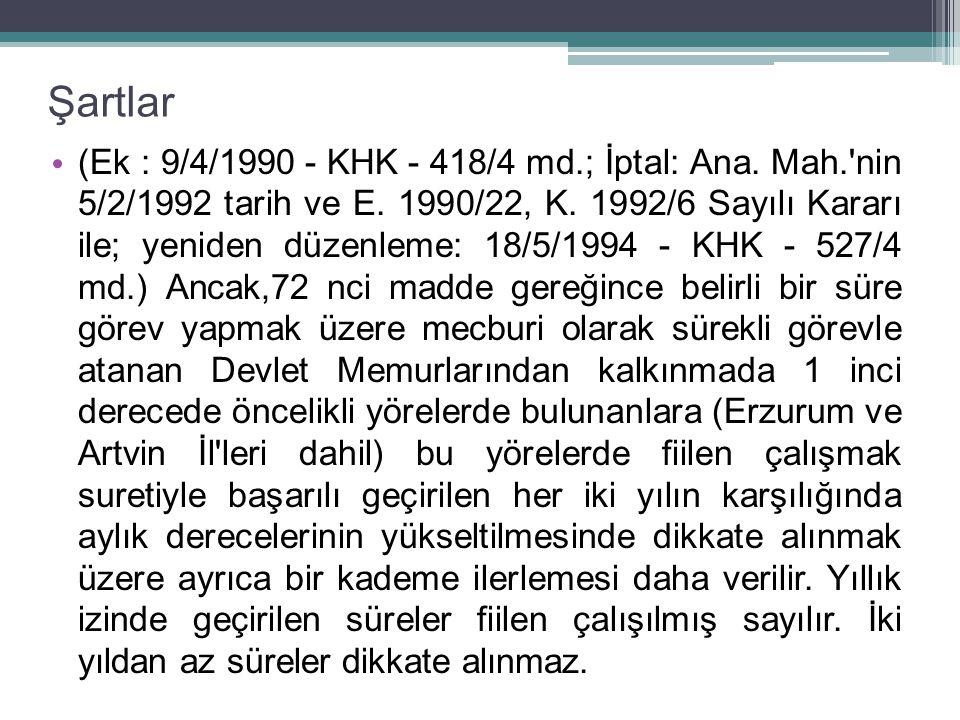 Şartlar (Ek : 9/4/1990 - KHK - 418/4 md.; İptal: Ana.