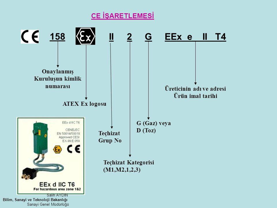 II 2 G EEx e II T4 158 Onaylanmış Kuruluşun kimlik numarası ATEX Ex logosu Teçhizat Grup No Teçhizat Kategorisi (M1,M2,1,2,3) G (Gaz) veya D (Toz) Üre
