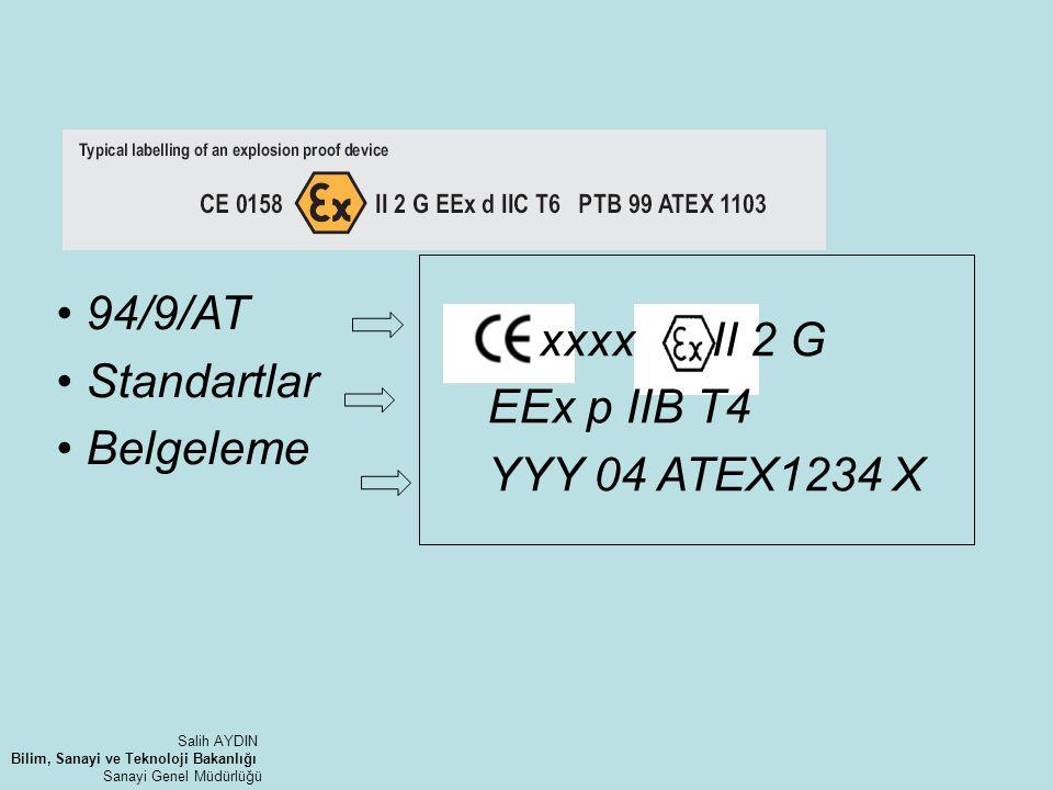 xxxx II 2 G EEx p IIB T4 YYY 04 ATEX1234 X 94/9/AT Standartlar Belgeleme Salih AYDIN Bilim, Sanayi ve Teknoloji Bakanlığı Sanayi Genel Müdürlüğü