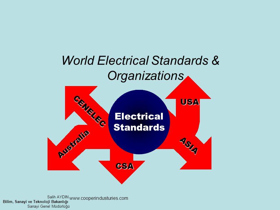CENELEC Australia ASIA USA CSA World Electrical Standards & Organizations Electrical Standards www.cooperindusturies.com Salih AYDIN Bilim, Sanayi ve