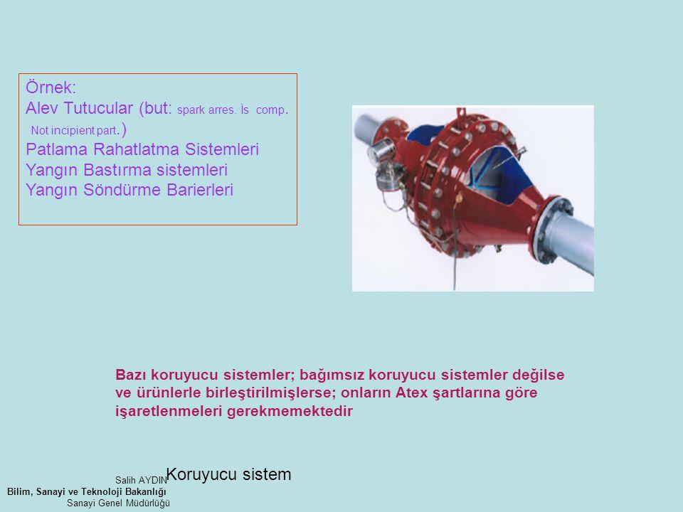 Koruyucu sistem Örnek: Alev Tutucular (but: spark arres. İs comp. Not incipient part.) Patlama Rahatlatma Sistemleri Yangın Bastırma sistemleri Yangın