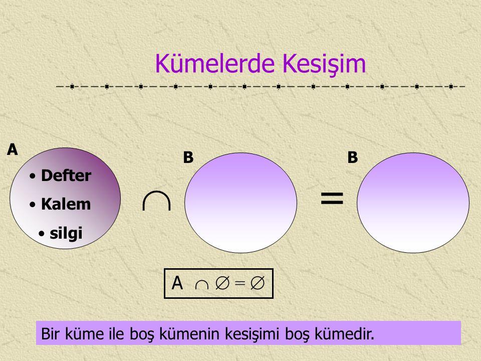 Kümelerde Kesişim Bir küme ile boş kümenin kesişimi boş kümedir. A Defter Kalem silgi  B = A   =  B