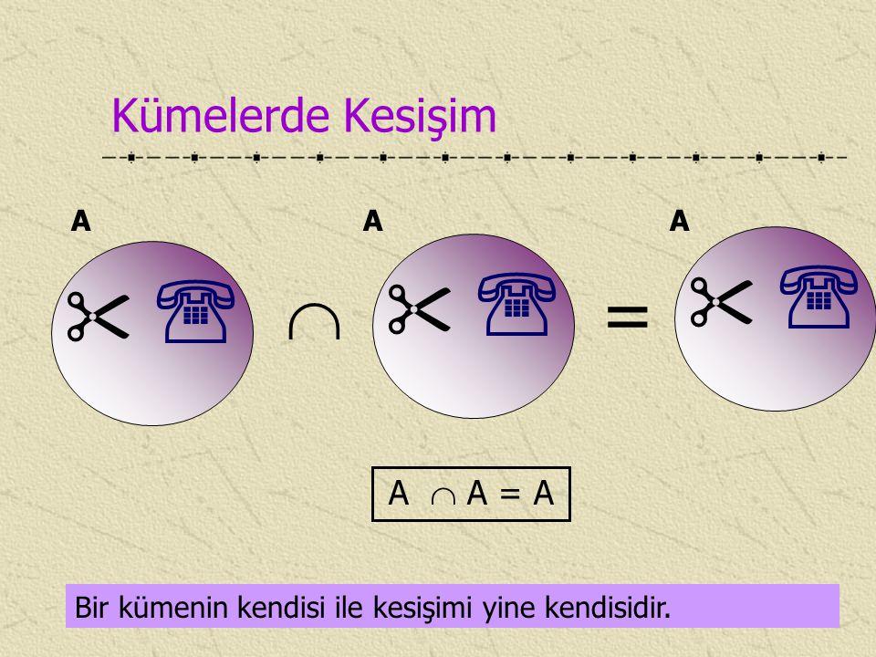 Kümelerde Kesişim Bir kümenin kendisi ile kesişimi yine kendisidir.     A A  A = A     A  =     A