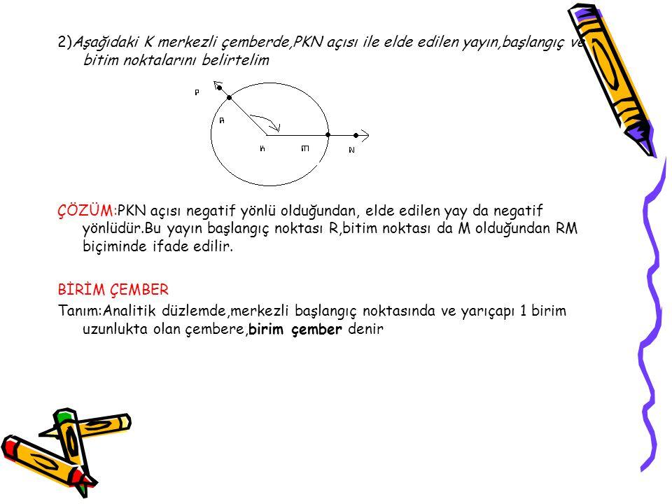 2)Aşağıdaki K merkezli çemberde,PKN açısı ile elde edilen yayın,başlangıç ve bitim noktalarını belirtelim ÇÖZÜM:PKN açısı negatif yönlü olduğundan, el