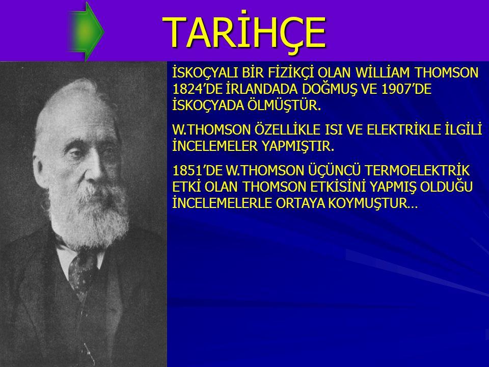 TARİHÇE İSKOÇYALI BİR FİZİKÇİ OLAN WİLLİAM THOMSON 1824'DE İRLANDADA DOĞMUŞ VE 1907'DE İSKOÇYADA ÖLMÜŞTÜR. W.THOMSON ÖZELLİKLE ISI VE ELEKTRİKLE İLGİL