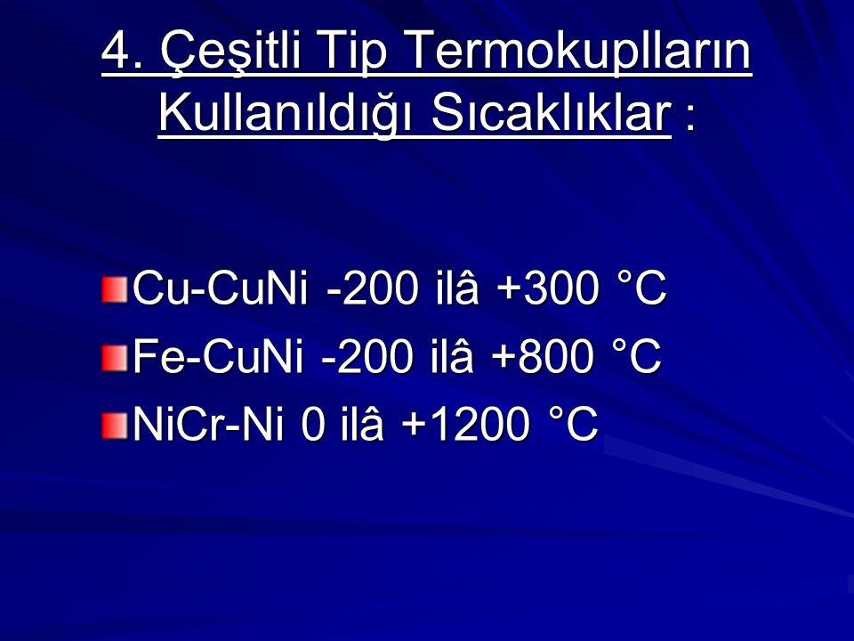 4. Çeşitli Tip Termokuplların Kullanıldığı Sıcaklıklar : Cu-CuNi -200 ilâ +300 °C Fe-CuNi -200 ilâ +800 °C NiCr-Ni 0 ilâ +1200 °C