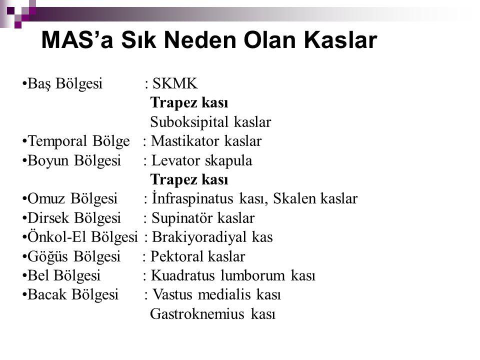 MAS'a Sık Neden Olan Kaslar Baş Bölgesi : SKMK Trapez kası Suboksipital kaslar Temporal Bölge : Mastikator kaslar Boyun Bölgesi : Levator skapula Trap