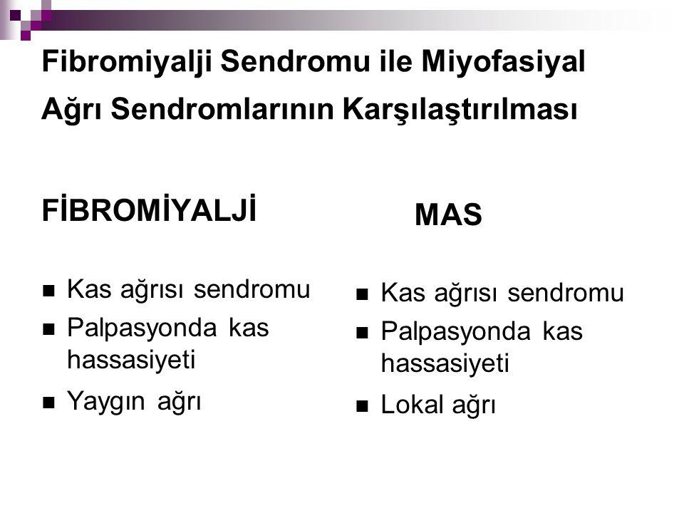 Fibromiyalji Sendromu ile Miyofasiyal Ağrı Sendromlarının Karşılaştırılması FİBROMİYALJİ Kas ağrısı sendromu Palpasyonda kas hassasiyeti Yaygın ağrı M