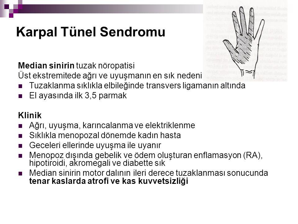 Karpal Tünel Sendromu Median sinirin tuzak nöropatisi Üst ekstremitede ağrı ve uyuşmanın en sık nedeni Tuzaklanma sıklıkla elbileğinde transvers ligam