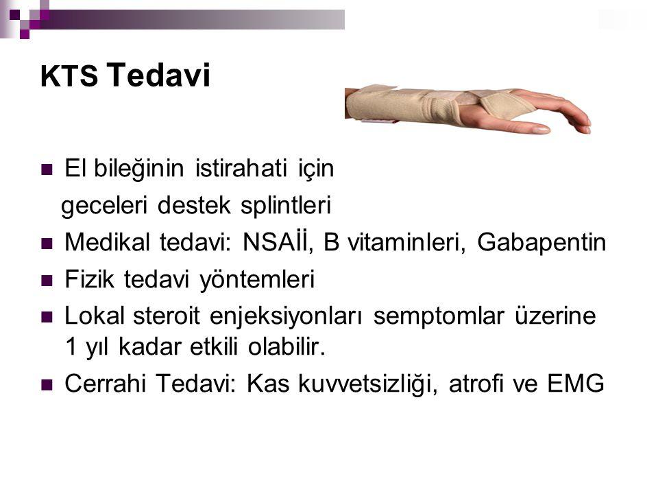 KTS Tedavi El bileğinin istirahati için geceleri destek splintleri Medikal tedavi: NSAİİ, B vitaminleri, Gabapentin Fizik tedavi yöntemleri Lokal ster