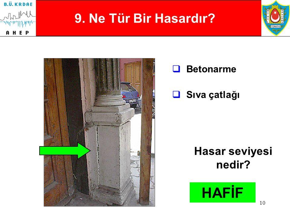 9 8. Ne Tür Bir Hasardır?  Kerpiç  Çapraz / Diagonal çatlaklar Hasar seviyesi nedir? AĞIR
