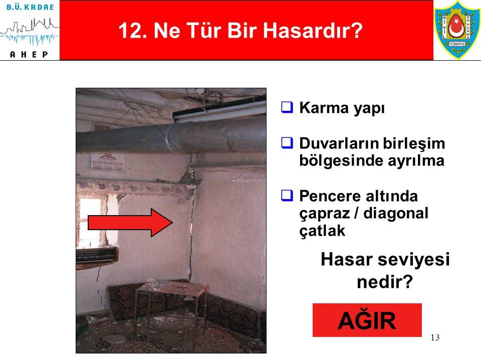 12 11. Ne Tür Bir Hasardır?  Yığma  Kabuk ve Kaplamaların Dökülmesi  Çapraz / Diagonal çatlak olasılığı  Hasar Kısmi Hasar seviyesi nedir? ORTA