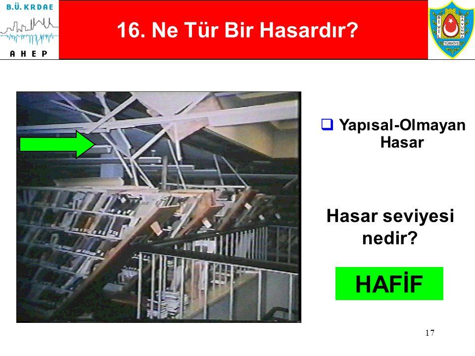 16 15. Ne Tür Bir Hasardır?  Betonarme  Çekirdek beton ezilmesi  Yetersiz yatay demir kullanımı Hasar seviyesi nedir? AĞIR