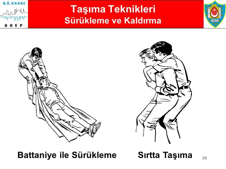 29 Acil Hallerde Taşıma Teknikleri Hafif Yaralı Birine Yardım Bir kişi ile yaralıya destek olarak taşıma