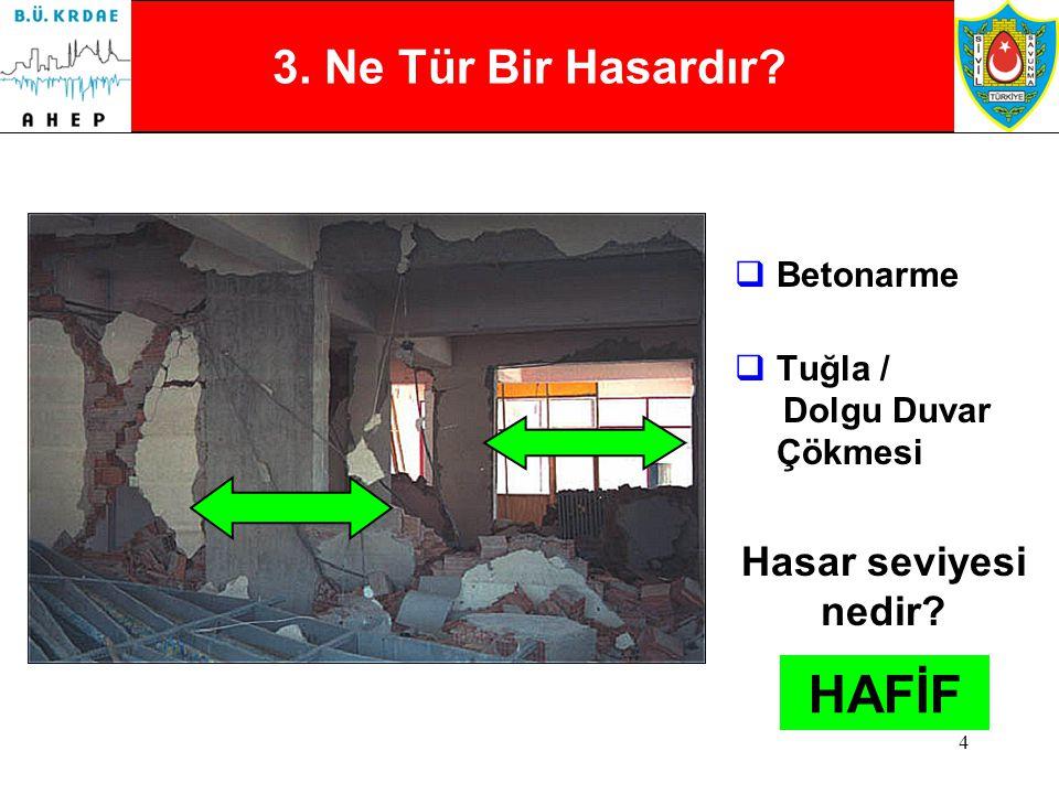 3 2. Ne Tür Bir Hasardır?  Betonarme  Ezilmiş Çekirdek Beton  Kolon / Kiriş birleşim yerlerinde hasar Hasar seviyesi nedir? AĞIR