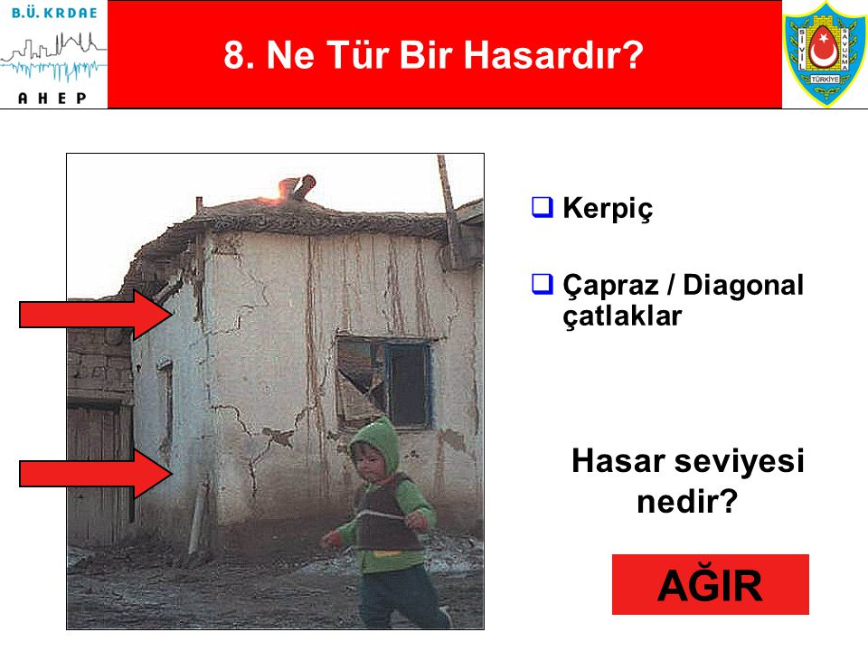 8 7. Ne Tür Bir Hasardır?  Betonarme  Çapraz / Diagonal çatlaklar Hasar seviyesi nedir? AĞIR