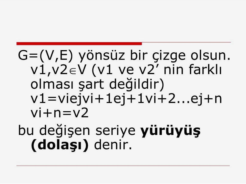 G=(V,E) yönsüz bir çizge olsun. v1,v2V (v1 ve v2' nin farklı olması şart değildir) v1=viejvi+1ej+1vi+2...ej+n vi+n=v2 bu değişen seriye yürüyüş (dola
