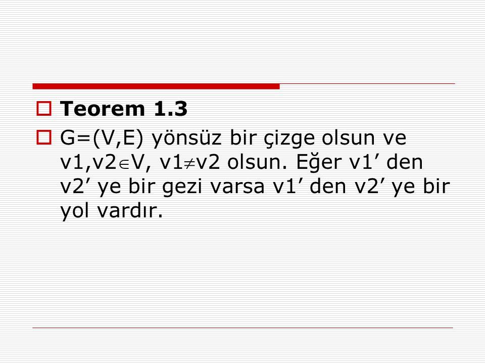  Teorem 1.3  G=(V,E) yönsüz bir çizge olsun ve v1,v2V, v1v2 olsun. Eğer v1' den v2' ye bir gezi varsa v1' den v2' ye bir yol vardır.