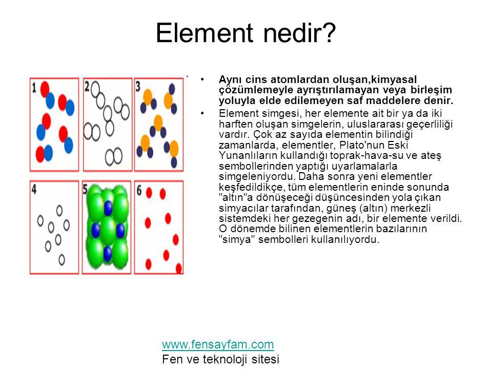Element nedir? Aynı cins atomlardan oluşan,kimyasal çözümlemeyle ayrıştırılamayan veya birleşim yoluyla elde edilemeyen saf maddelere denir. Element s