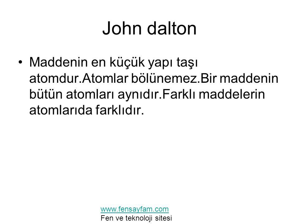 John dalton Maddenin en küçük yapı taşı atomdur.Atomlar bölünemez.Bir maddenin bütün atomları aynıdır.Farklı maddelerin atomlarıda farklıdır. www.fens