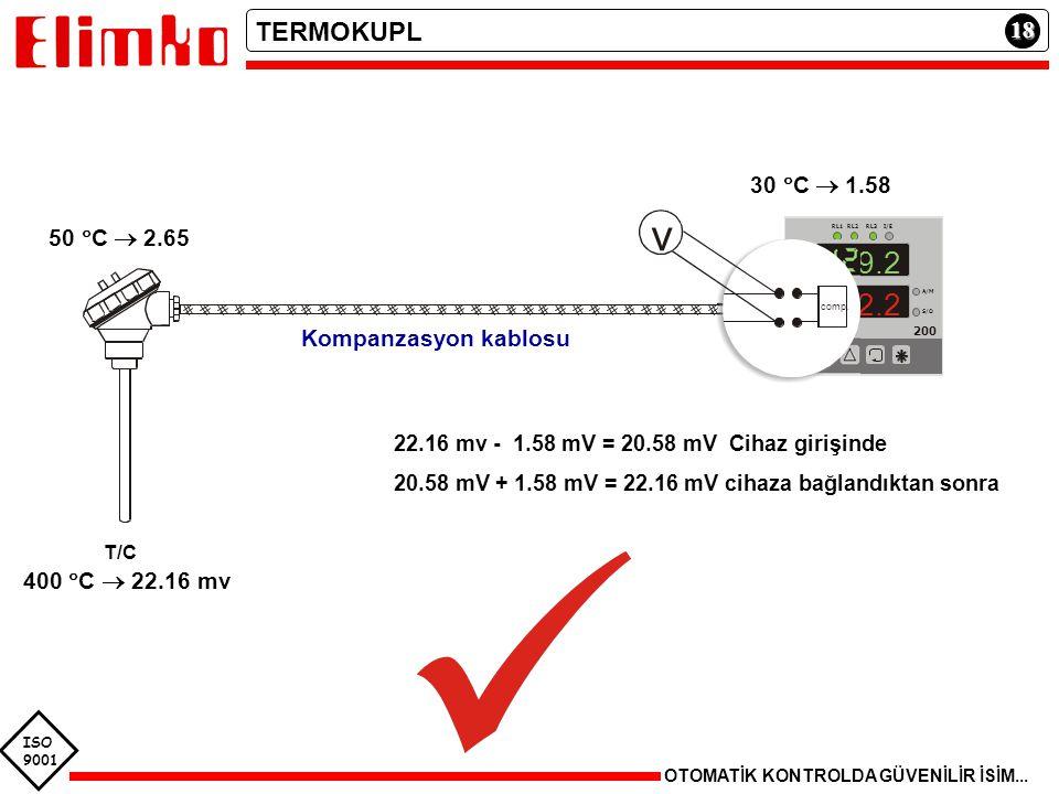 ISO 9001 18 OTOMATİK KONTROLDA GÜVENİLİR İSİM... TERMOKUPL T/C 400  C  22.16 mv 22.16 mv - 1.58 mV = 20.58 mV Cihaz girişinde 20.58 mV + 1.58 mV = 2