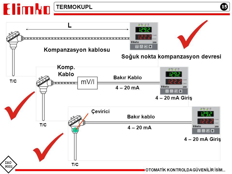 ISO 9001 15 OTOMATİK KONTROLDA GÜVENİLİR İSİM... TERMOKUPL T/C Compansatio n Cables Cupper Cable Kompanzasyon kablosu L Soğuk nokta kompanzasyon devre