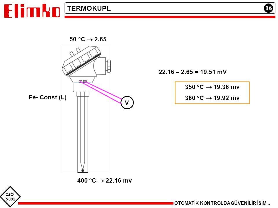 ISO 9001 16 OTOMATİK KONTROLDA GÜVENİLİR İSİM... TERMOKUPL Fe- Const (L) 22.16 – 2.65 = 19.51 mV 350  C  19.36 mv 360  C  19.92 mv 400  C  22.16