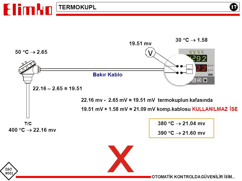 ISO 9001 17 OTOMATİK KONTROLDA GÜVENİLİR İSİM... TERMOKUPL T/C 400  C  22.16 mv 22.16 mv - 2.65 mV = 19.51 mV termokuplun kafasında 19.51 mV + 1.58