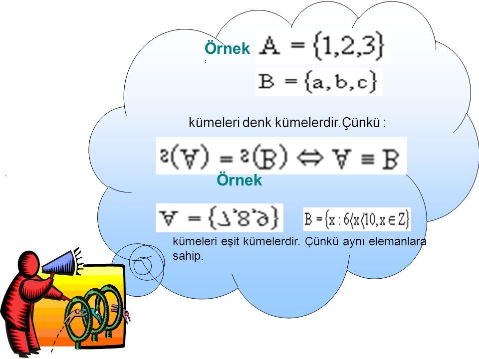 ALT KÜME: A ve B iki küme olmak üzere, A' nın her elemanı B ' nin de elemanı oluyorsa A' ya B' nin alt kümesi denir.