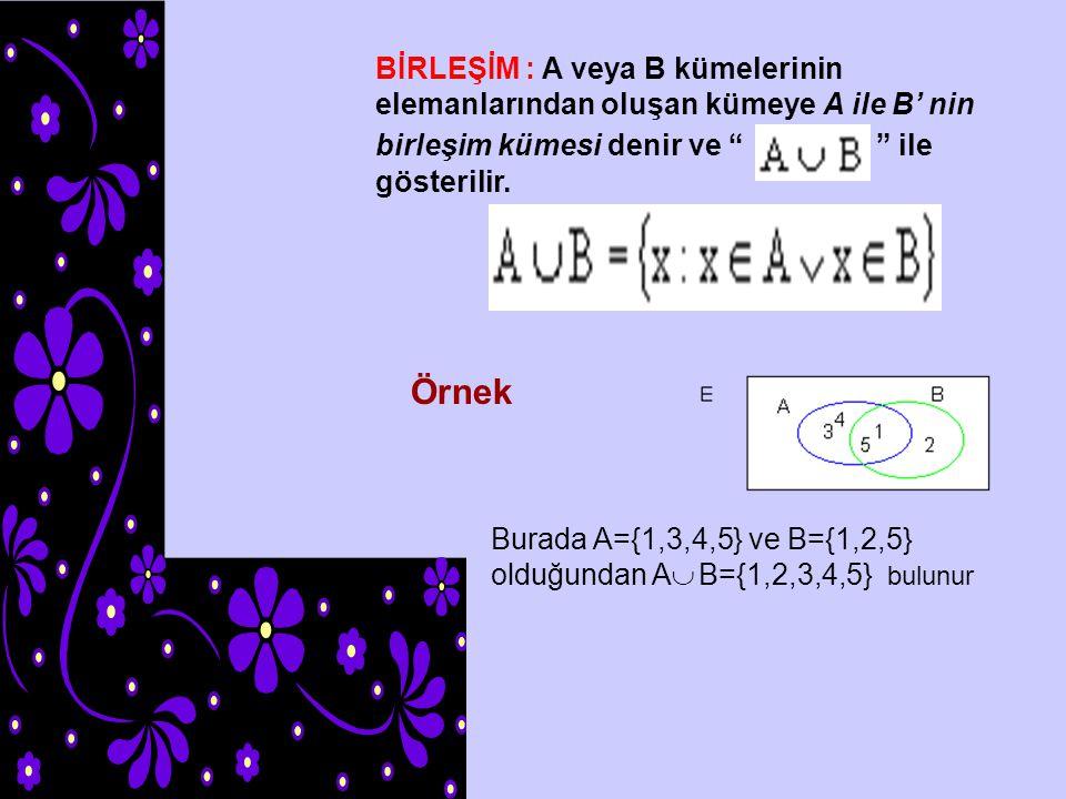 KESİŞİM : A ve B kümesinin ortak elemanlarından oluşan kümeye A ile B kesişim kümesi denir ile gösterilir.